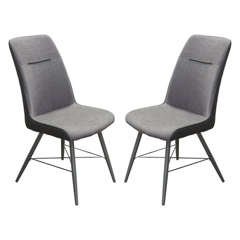 Diamond Sofa Chloe Dining Chairs w/Grey Fabric & Black Leatherette - Set of 2