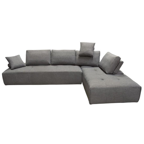 Diamond Sofa Cloud 2 Piece Lounge Seating Platforms w/Moveable Backrest Supports in Space Grey Fabric