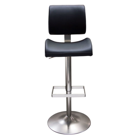 Diamond Sofa Contour Hydraulic Adjustable Height Barstool in Black Leatherette w/Brushed Stainless Steel Base