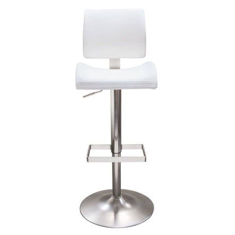 Diamond Sofa Contour Hydraulic Adjustable Height Barstool in White Leatherette w/Brushed Stainless Steel Base
