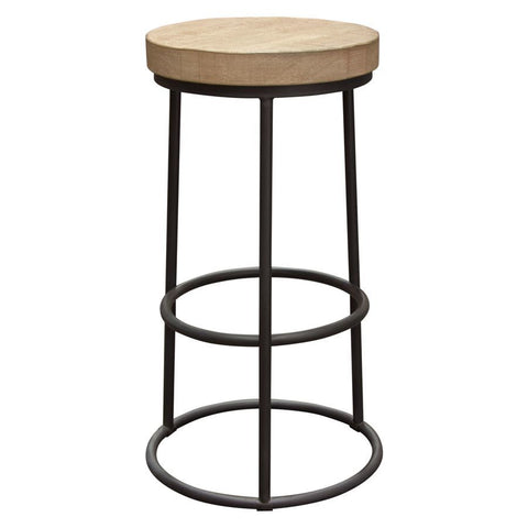 Diamond Sofa Cooper Round Backless Barstool w/Solid Pine Seat & Metal Hoop Base