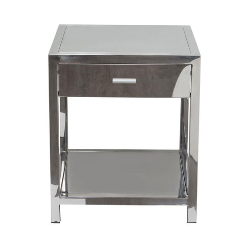 Diamond Sofa Corleo 1-Drawer Accent Table in Polished Stainless Steel