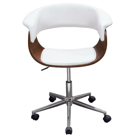Diamond Sofa Cove Castered Office Chair in White w/Molded Bamboo Seat & Chrome Base
