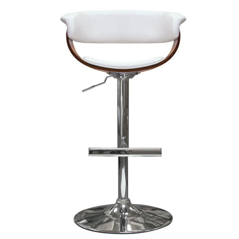 Diamond Sofa Cove Hydraulic Adjustable Height Stool in White w/Molded Bamboo Seat & Polished Metal Base