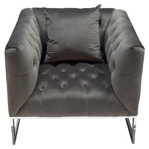 Diamond Sofa Crawford Tufted Chair in Dusk Grey Velvet w/ Polished Metal Leg & Trim