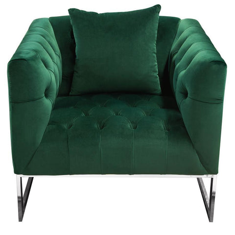 Diamond Sofa Crawford Tufted Chair in Emerald Green Velvet w/ Polished Metal Leg & Trim