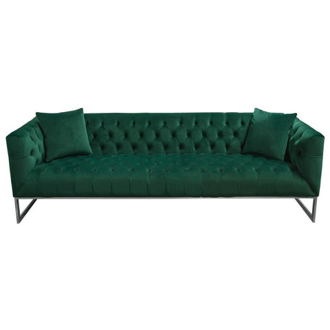 Diamond Sofa Crawford Tufted Sofa in Emerald Green Velvet w/ Polished Metal Leg & Trim