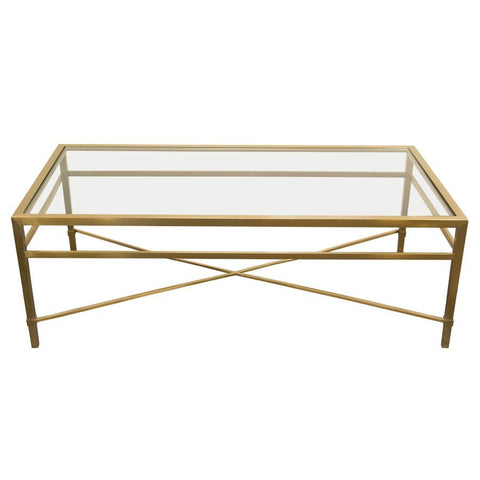 Diamond Sofa Croft Rectangular Cocktail Table w/Clear Glass Top & Brushed Gold Base