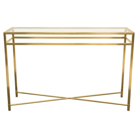 Diamond Sofa Croft Rectangular Console Table w/Clear Glass Top & Brushed Gold Base