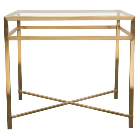 Diamond Sofa Croft Rectangular End Table w/Clear Glass Top & Brushed Gold Base