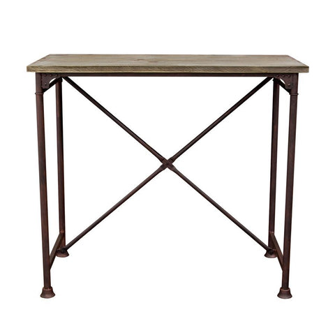 Diamond Sofa Dixon Vintage Rectangular Bar Table w/Weathered Grey Top & Rust Black Base