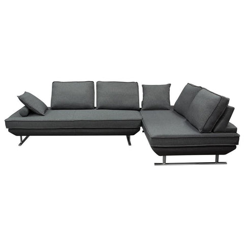 Diamond Sofa Dolce 2 Piece Lounge Seating Platforms w/Moveable Backrest Supports - Grey Fabric