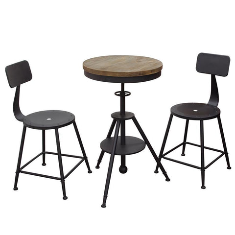 Diamond Sofa Douglas 3 Piece Vintage Adjustable Height Bistro Table Set w/Black Stools