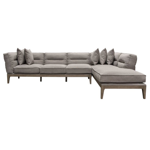 Diamond Sofa Eden RF 2PC Sectional in Grey Linen w/Down Seating & Solid Birch Frame
