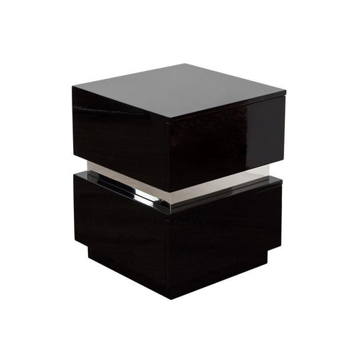 Diamond Sofa Elle 2 In Drawer Accent Table In High Gloss Black