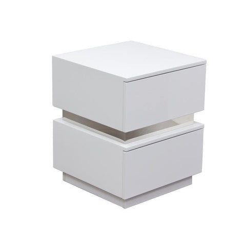Diamond Sofa Elle 2 In Drawer Accent Table In High Gloss White