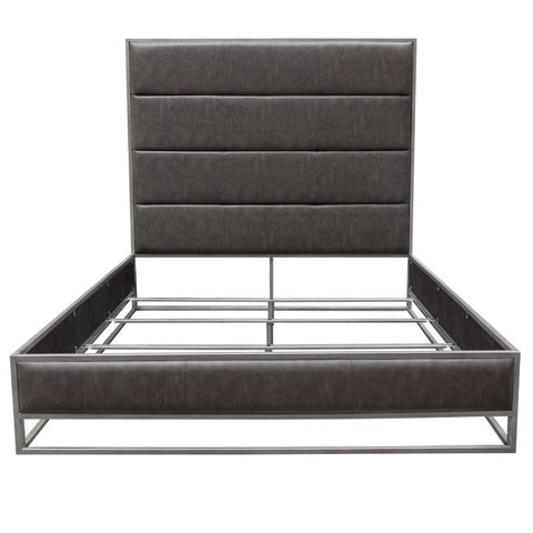 Diamond Sofa Empire Uphlstered Platform Bed in Weathered Grey & Silver