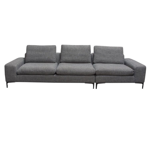 Diamond Sofa Flux 2 Piece  Modular Sofa in Grey Fabric w/Black Metal Legs