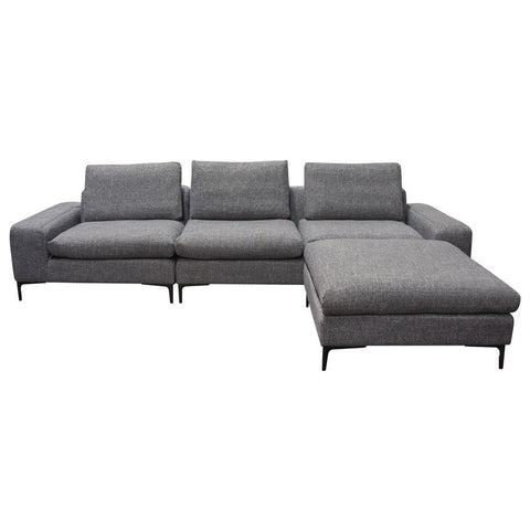 Diamond Sofa Flux 3 Piece Modular Sectional in Grey Fabric w/Ottoman