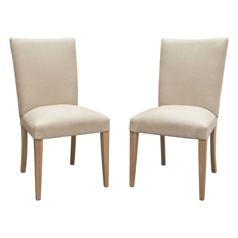 Diamond Sofa Francis Dining Side Chairs in Sand Linen w/Wood Legs in Grey Oak - Set of 2
