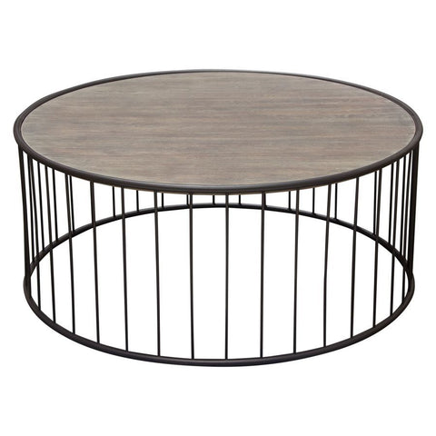 Diamond Sofa Gibson 38 Inch Round Cocktail Table w/Grey Oak Top & Metal Base