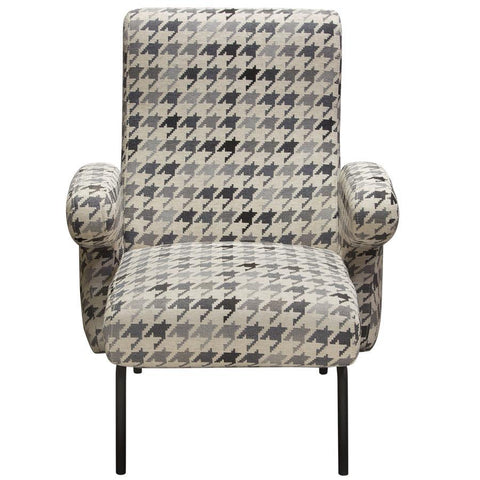 Diamond Sofa Harper Accent Chair in Hounds Tooth Pattern Fabric w/Black Powder Coated Leg