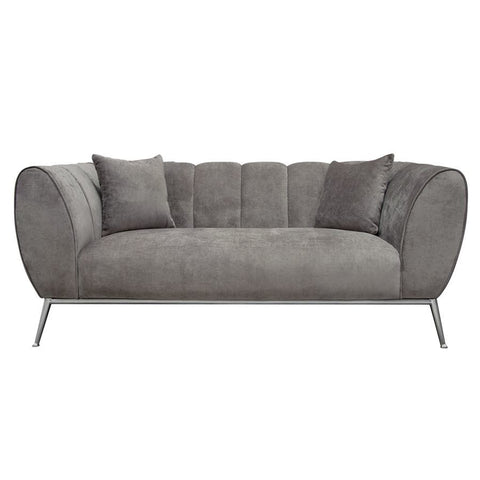 Diamond Sofa Jade Loveseat in Plush Grey Fabric w/ Silver Leg & Trim