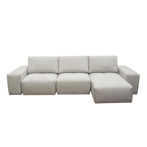 Diamond Sofa Jazz Modular 3-Seater Chaise Sectional w/Adjustable Backrests in Light Brown Fabric