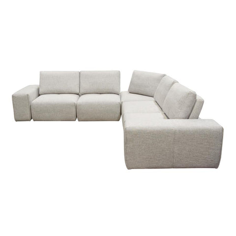Diamond Sofa Jazz Modular 5-Seater Corner Sectional w/Adjustable Backrests in Light Brown Fabric
