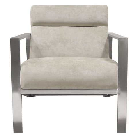 Diamond Sofa La Brea Accent Chair in Champagne Fabric w/Brushed Stainless Steel Frame
