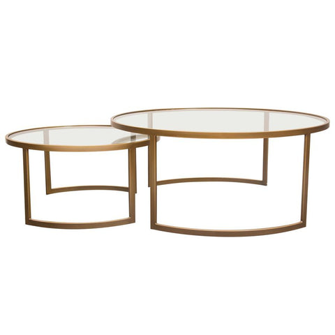 Diamond Sofa Lane 2 Piece Round Nesting Set in Brushed Gold Frame w/Clear Tempered Glass Tops