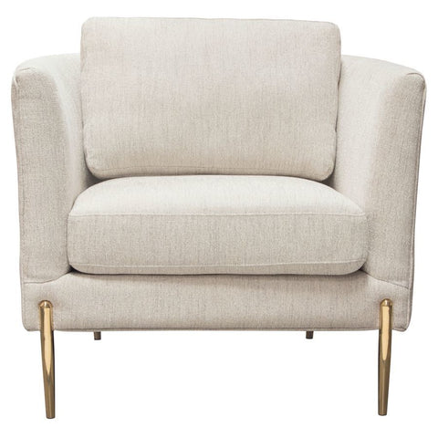 Diamond Sofa Lane Chair in Light Cream Fabric w/Gold Metal Legs