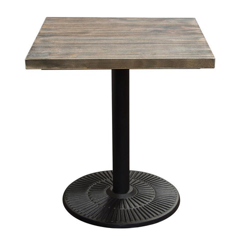 Diamond Sofa Lincoln Vintage 28 Inch Square Bistro Table w/Weathered Grey Top & Black Powder Coat Base