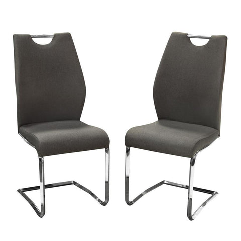 Diamond Sofa London Dining Chairs in Grey Fabric w/Chrome Base - Set of 2