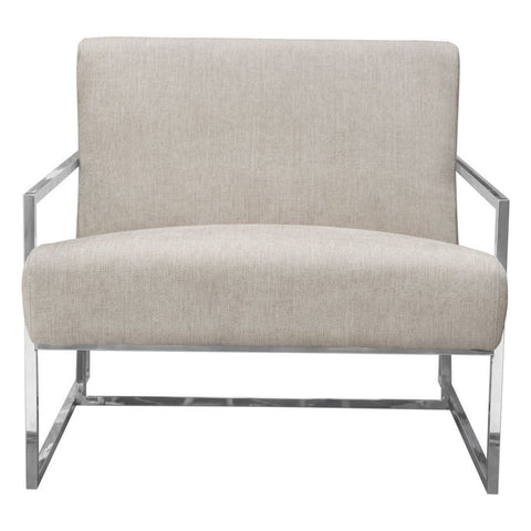 Diamond Sofa Luxe Accent Chair in Light Tweed Fabric w/Polished Stainless Steel Frame