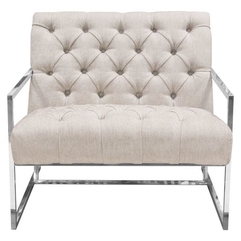 Diamond Sofa Luxe Accent Chair in Light Tweed Tufted Fabric w/Polished Stainless Steel Frame