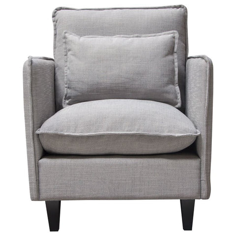 Diamond Sofa Malone Chair in Grey Fabric w/Down Seating & Exposed Welt