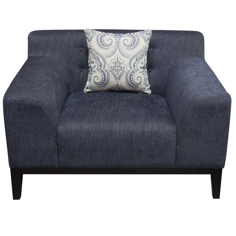 Diamond Sofa Marquee Tufted Back Chair in Panama Blue Fabric w/Accent Pillows