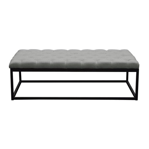 Diamond Sofa Mateo Black Powder Coat Metal Large Linen Tufted Bench - Grey