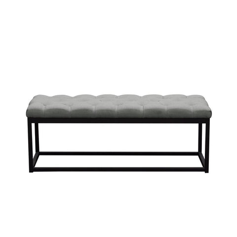 Diamond Sofa Mateo Black Powder Coat Metal Small Linen Tufted Bench - Grey