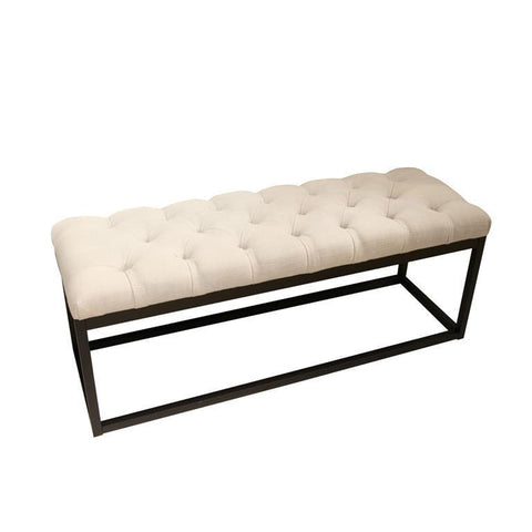 Diamond Sofa Mateo Black Powder Coat Metal Small Linen Tufted Bench In Desert Sand Linen