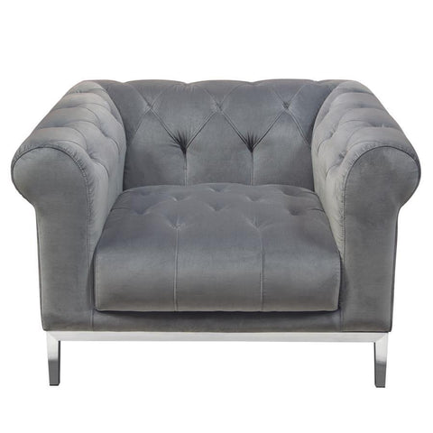 Diamond Sofa Monroe Tufted Chair in Royal Platinum Grey Velvet w/Brushed Stainless Steel Trim & Leg