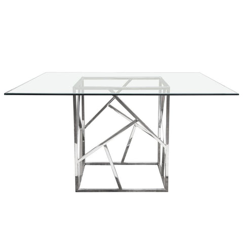 Diamond Sofa Nest 54 Inch Dining Table w/Clear Tempered Glass Top & Polished Stainless Steel Base