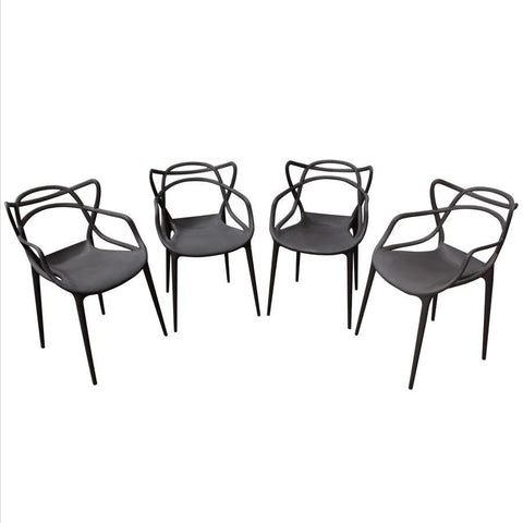 Diamond Sofa Newton 4-Pack Indoor/Outdoor Accent Chairs in Black Polypropylene