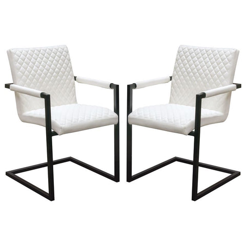 Diamond Sofa Nolan Dining Chairs in White Diamond Tufted Leatherette on Charcoal Powder Coat Frame - Set of 2