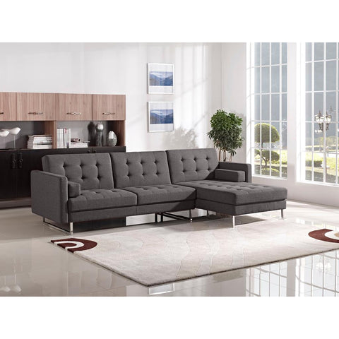 Diamond Sofa Opus Convertible Tufted Rf Chaise Sectional In Grey