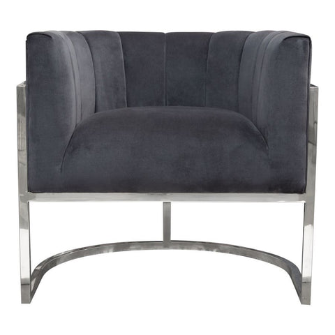 Diamond Sofa Pandora Accent Chair in Midnight Velvet w/Stainless Steel Frame