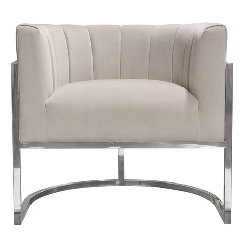 Diamond Sofa Pandora Accent Chair in Moondust Velvet w/Stainless Steel Frame
