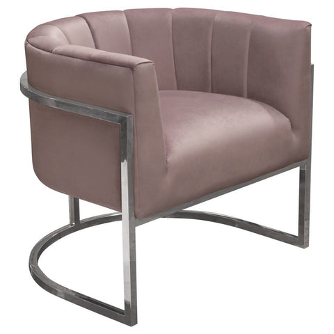 Diamond Sofa Pandora Accent Chair in Rose Velvet w/Stainless Steel Frame