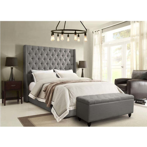 Diamond Sofa Park Avenue 2 Piece Tufted Bedroom Set in Grey Linen